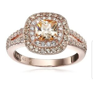 14k Rose Gold Plated Sterling Silver 6mm CZ